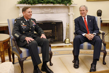 President George W. Bush meets with U.S. Army General David Petraeus, former Commander of the Multi-National Force in Iraq, Wednesday, Sept. 17, 2008, in the Oval Office at the White House. In speaking to reporters President Bush honored and congratulated General Petraeus for his outstanding command leadership in Iraq, and thanked him for agreeing to be the new commander of CENTCOM.