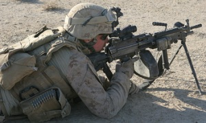 Lance Cpl. Pete Reed provides security during a patrol in support of Operation Gateway III Dec. 28, 2008, in Farah province, Islamic Republic of Afghanistan. Operation Gateway III was a strategically planned effort to clear Route 515 of improvised explosive devices and provide and maintain security along the important east-west roadway. Reed is an automatic rifleman with Company I, 3rd Battalion, 8th Marine Regiment (Reinforced), the ground combat element of Special Purpose Marine Air Ground Task Force – Afghanistan.